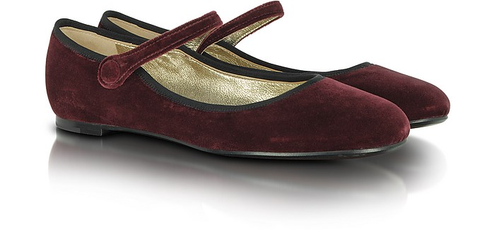 Mary Jane Ballerines en Velours Bordeaux - Marc Jacobs