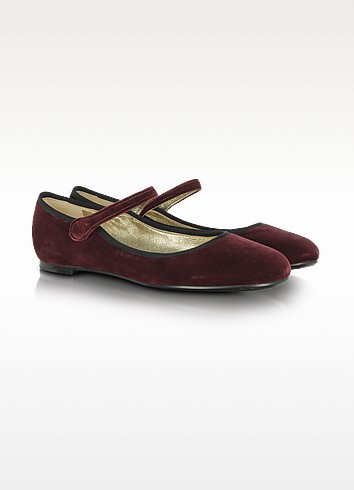 Merlot Velvet Mary Jane Shoes - Marc Jacobs
