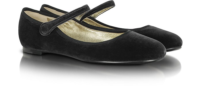 Black Velvet Mary Jane Shoes - Marc Jacobs