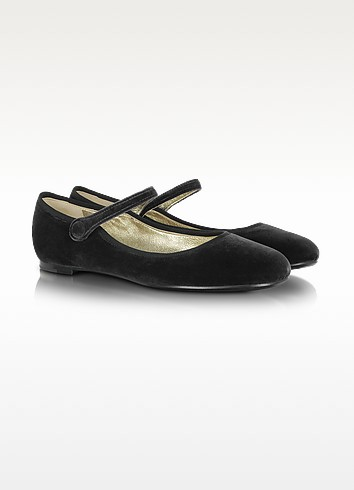 Mary Jane Ballerina in Velluto Nero - Marc Jacobs