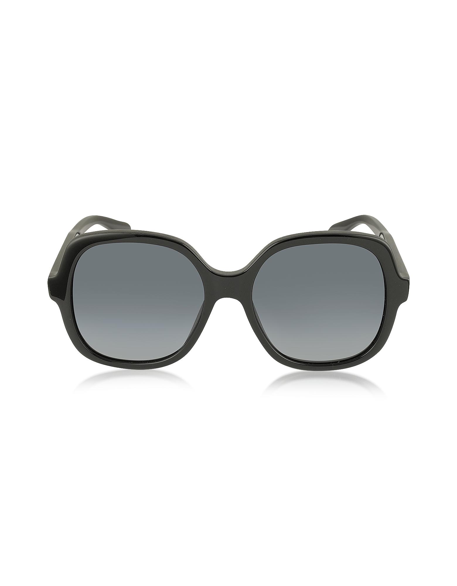 Marc Jacobs Sunglasses, MJ 589/S 807HD Rounded Square Black Oversized Acetate Women's Sunglasses