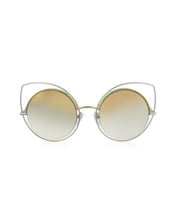 marc jacobs female marc 10s twmfq gold silver metal cat eye womens sunglasses