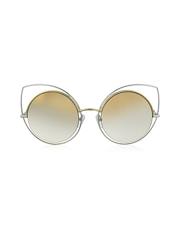 Marc Jacobs - MARC 10/S TWMFQ Gold & Silver Metal Cat Eye Women's Sunglasses