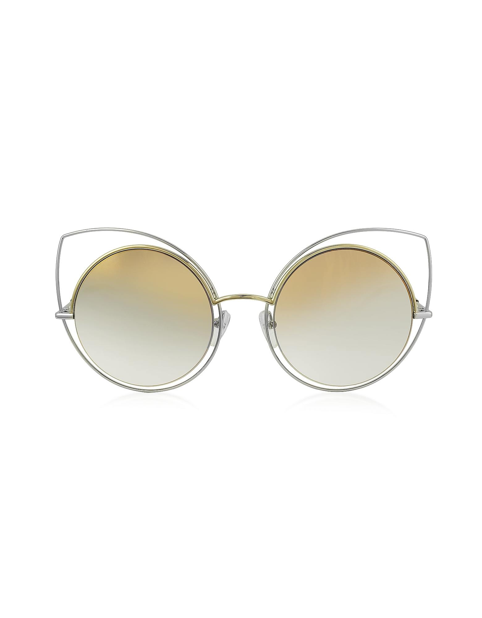 Marc Jacobs Designer Sunglasses, MARC 10/S TWMFQ Gold & Silver Metal Cat Eye Women's Sunglasses