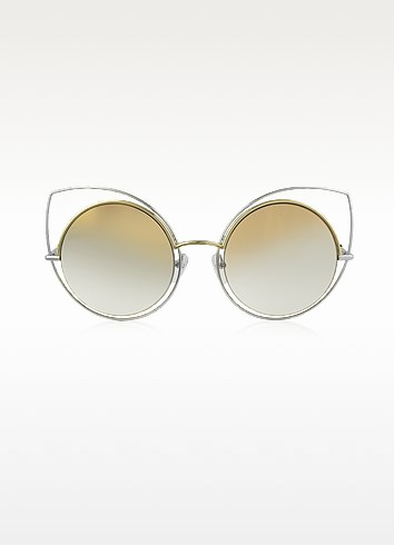MARC 10/S TWMFQ Gold & Silver Metal Cat Eye Women's Sunglasses - Marc Jacobs