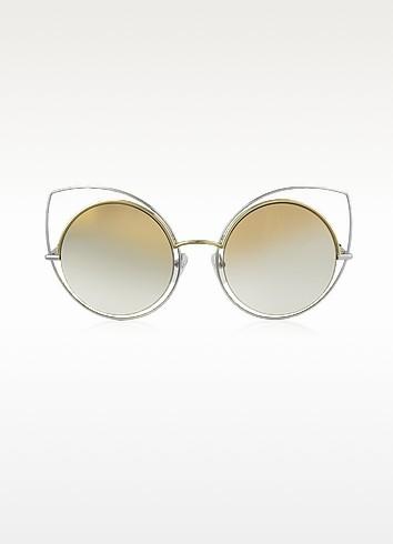 Marc Jacobs MARC 10/S TWMFQ - Женские Солнечные Очки в Оправе Кошачий Глаз и Золотистого и Серебристого Металла