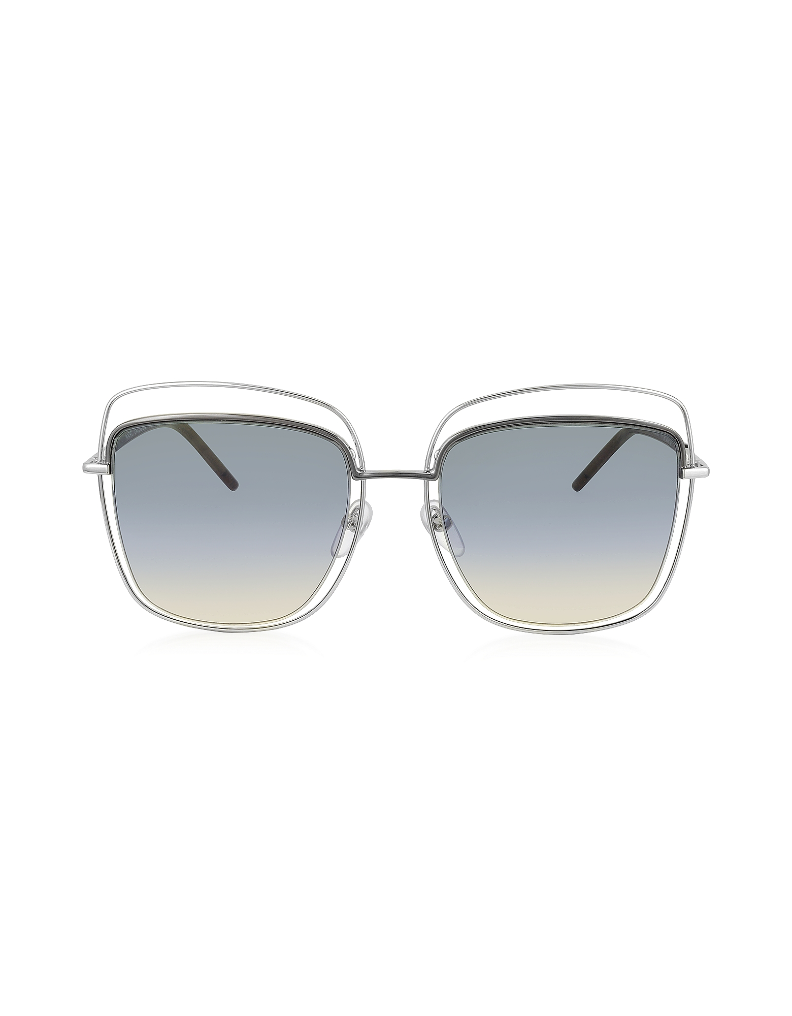 Marc Jacobs Designer Sunglasses, MARC 9/S TYYB0 Silver Metal Square Oversized Women's Sunglasses