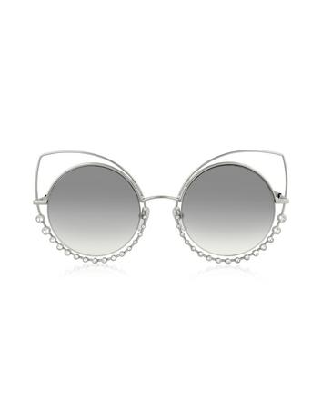 marc jacobs female marc 16s eeiic silver metal and crystals cat eye womens sunglasses