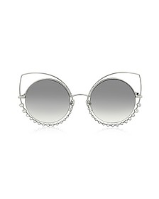 MARC 16/S EEIIC Silver Metal and Crystals Cat Eye Women's Sunglasses - Marc Jacobs