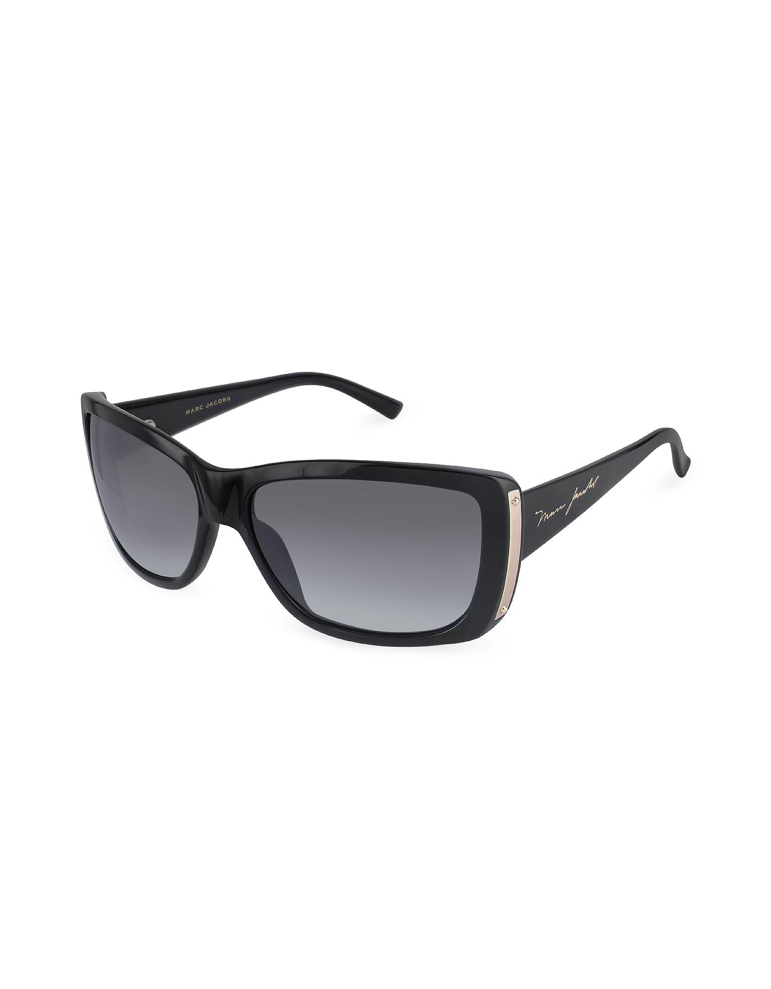 Marc Jacobs Designer Sunglasses, Plastic Rectangular Signature Temple Sunglasses