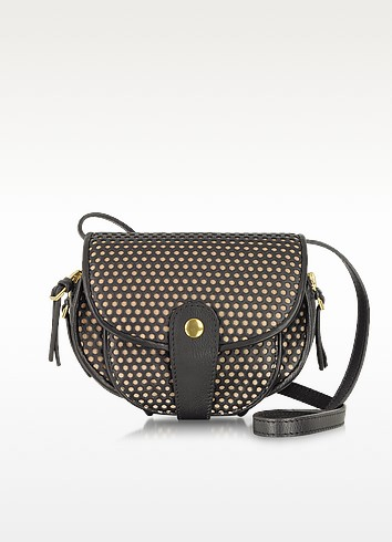 Momo Noir and Nude Perforated Leather Shoulder Bag - Jerome Dreyfuss