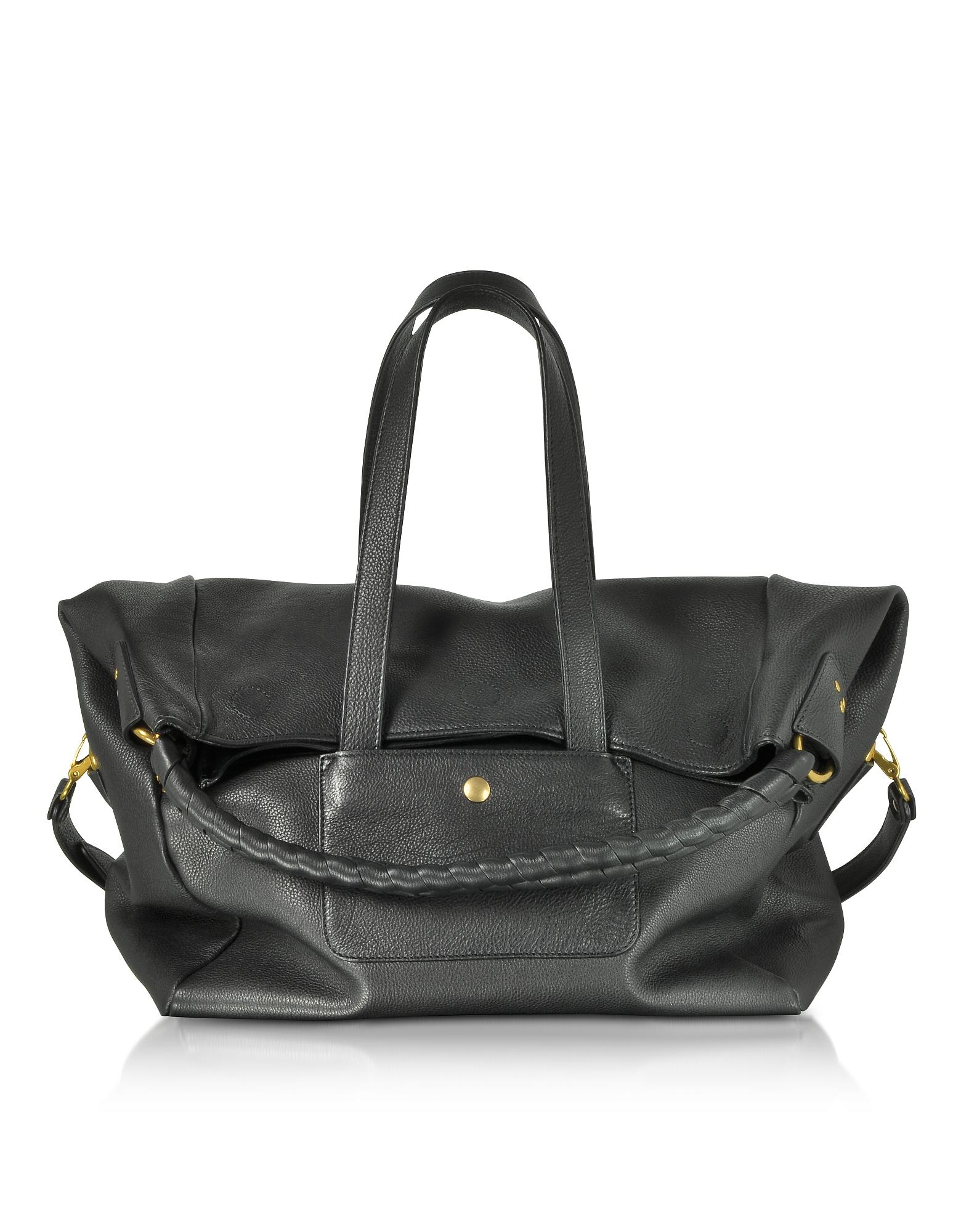 Gaspard Black Leather Shoulder Bag