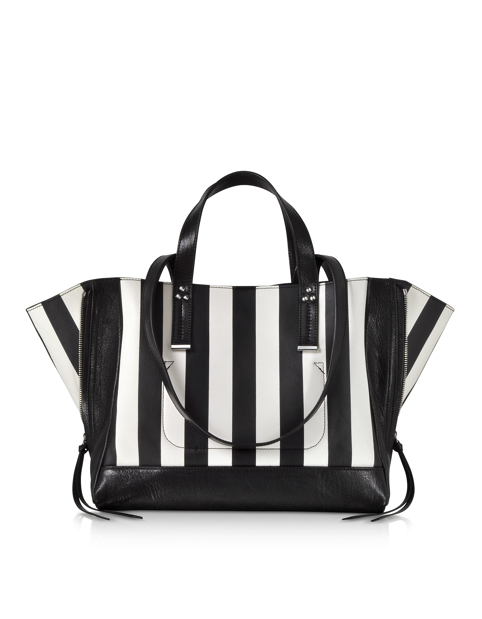 Georges M Black and White Stripes Leather Tote Bag