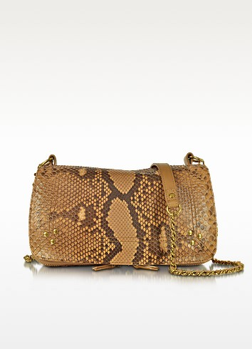 Bobi Golden Python Leather Shoulder Bag - Jerome Dreyfuss