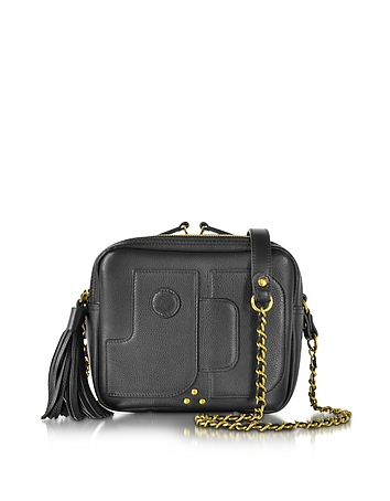 Pascal Black Leather Small Square Crossbody bag