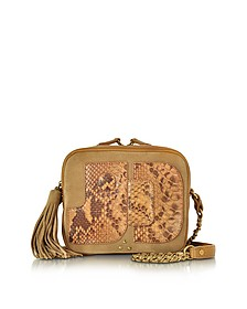 Pascal Caramel Leather, Nabuk and Python Camera Bag w/Tassel - Jerome Dreyfuss