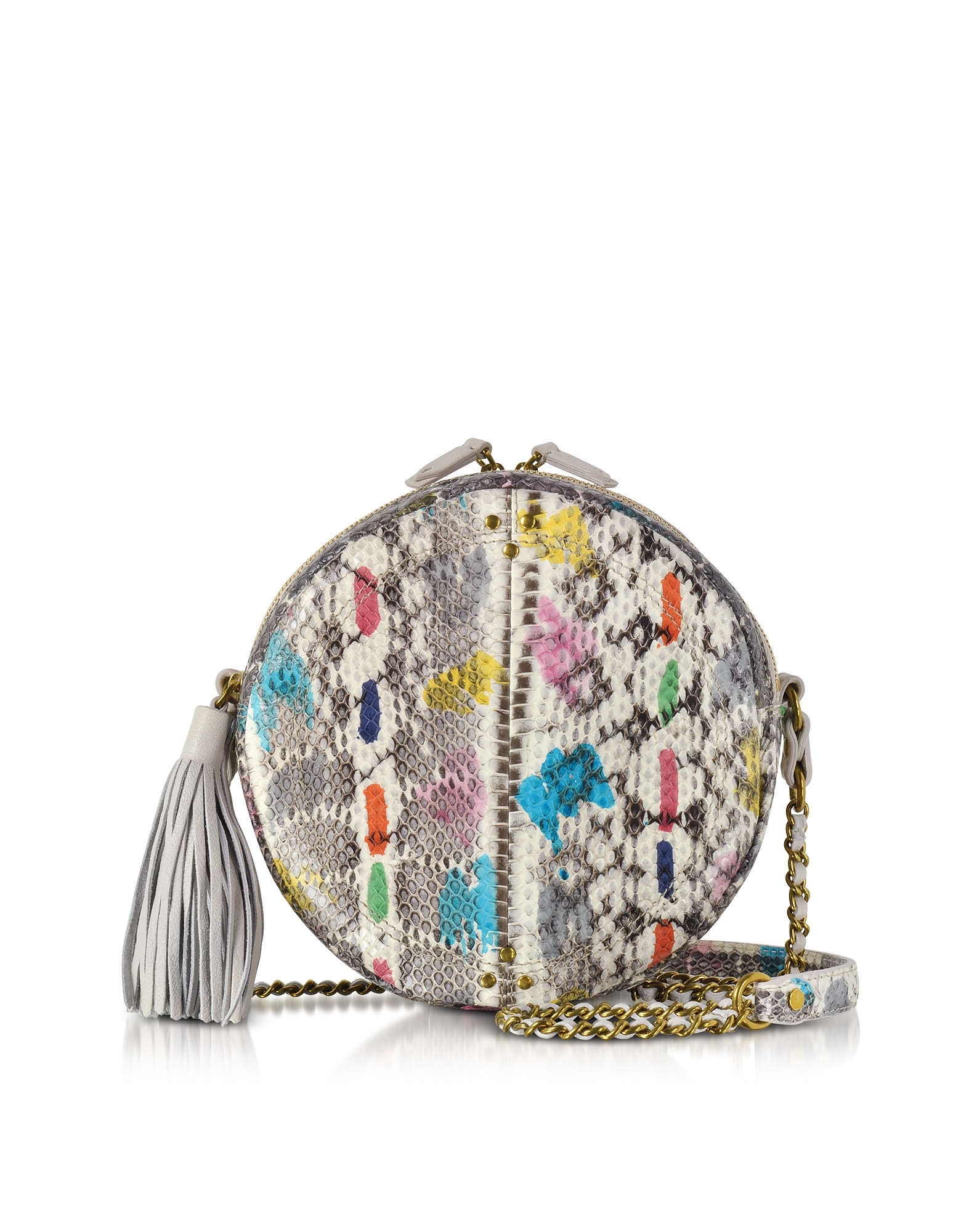 Jerome Dreyfuss Handbags, Remi Vassily Printed Snakeskin Round Crossbody Bag