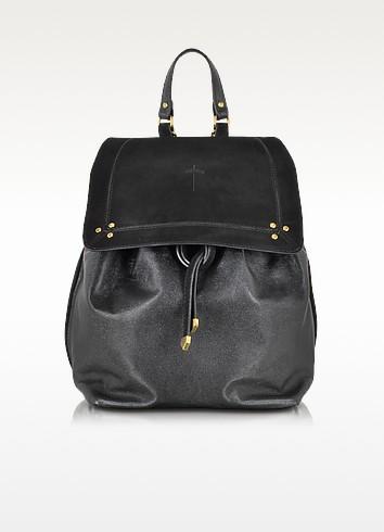 Florent Black Leather and Velvet Backpack - Jerome Dreyfuss
