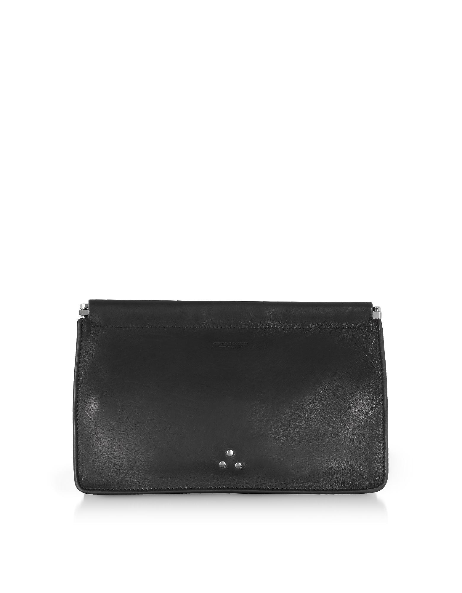 Image of Jerome Dreyfuss Designer Handbags, Popoche Clic Clac Large Black Leather Clutch
