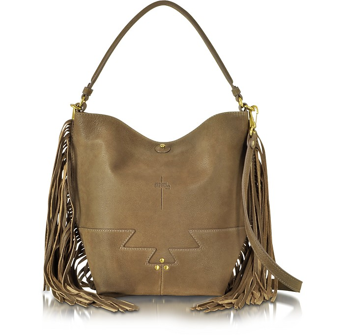 Mario Khaki Brown Leather Bucket Bag w/Fringe - Jerome Dreyfuss