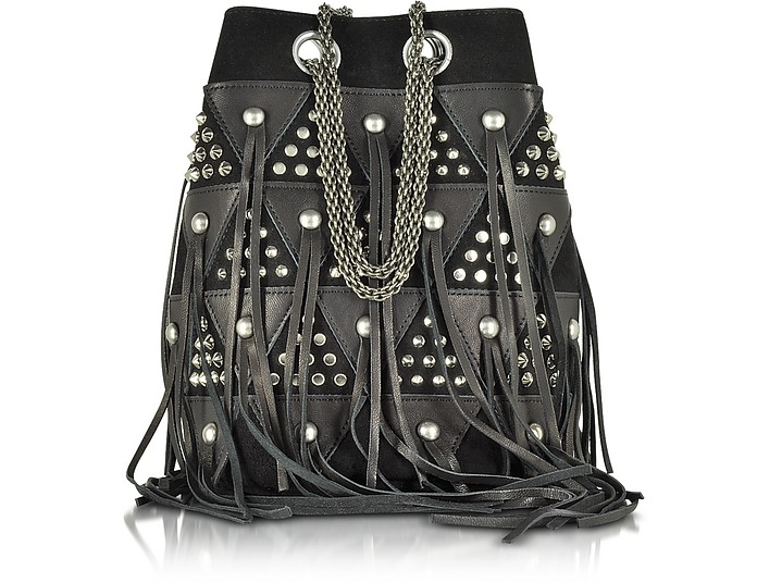 Popeye Black Patchwork Bucket Bag w/Studs and Fringes - Jerome Dreyfuss