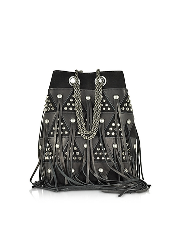Jerome Dreyfuss - Popeye Black Patchwork Bucket Bag w/Studs and Fringes