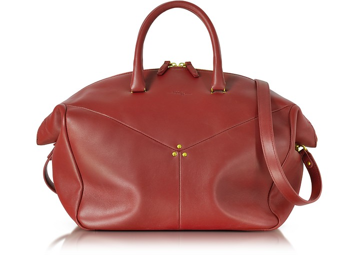 Gerald Smooth Burgundy Leather Tote Bag - Jerome Dreyfuss
