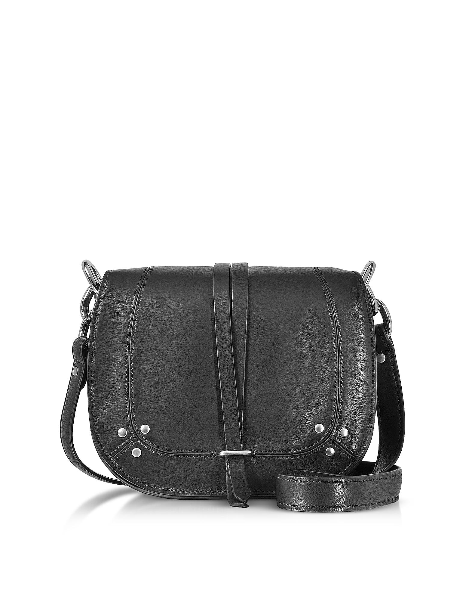 Victor Black Leather Shoulder Bag
