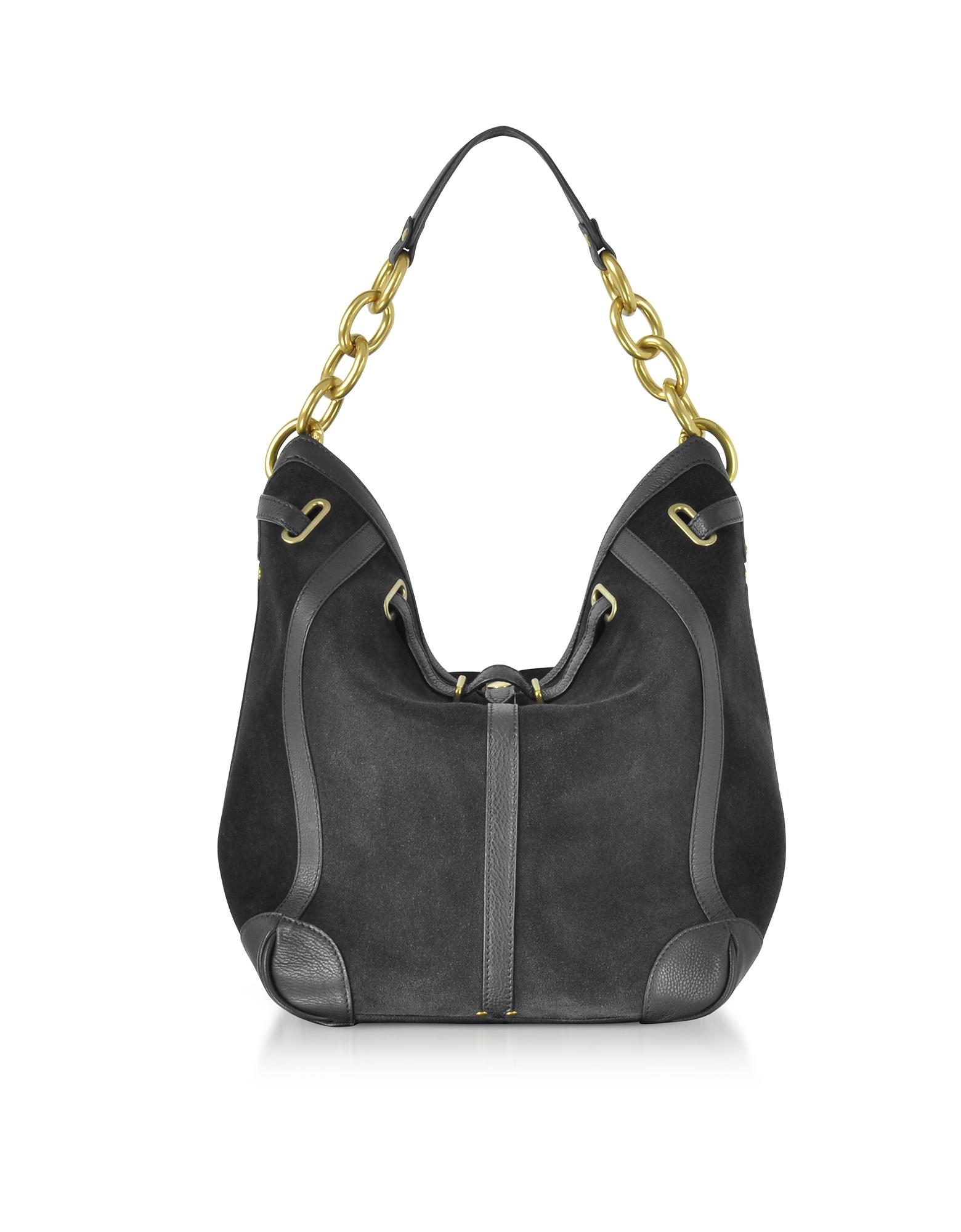 Jerome Dreyfuss Handbags, Tanguy Black Split Leather Shoulder Bag