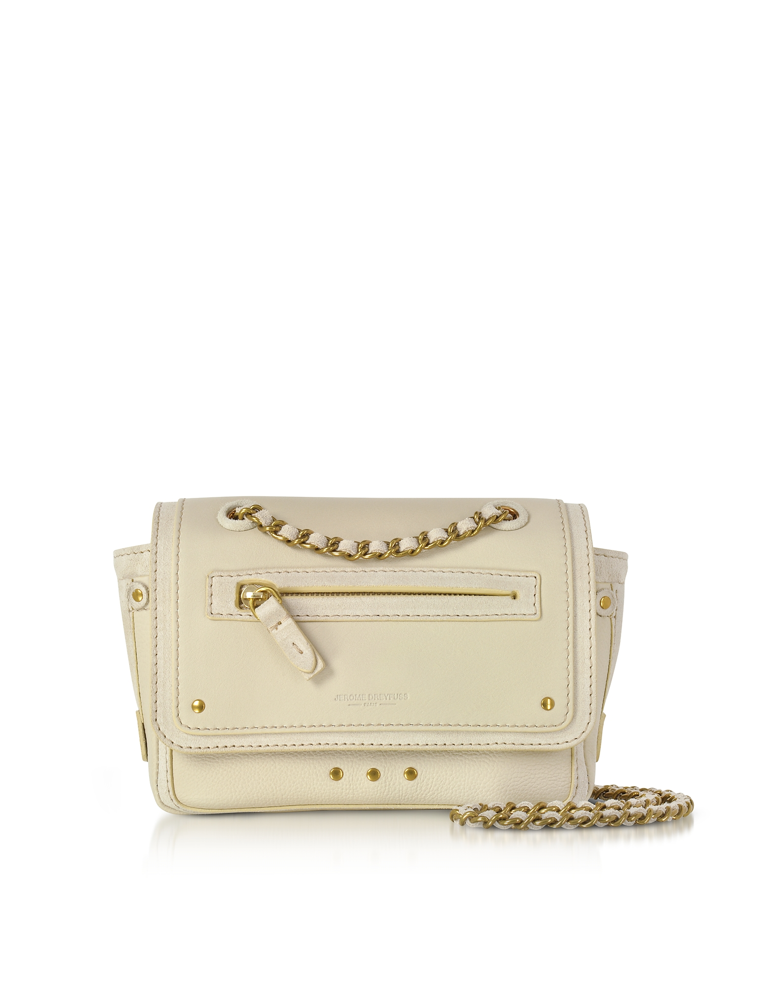 Jerome Dreyfuss Handbags, Benji Cream Leather and Suede Mini Crossbody Bag