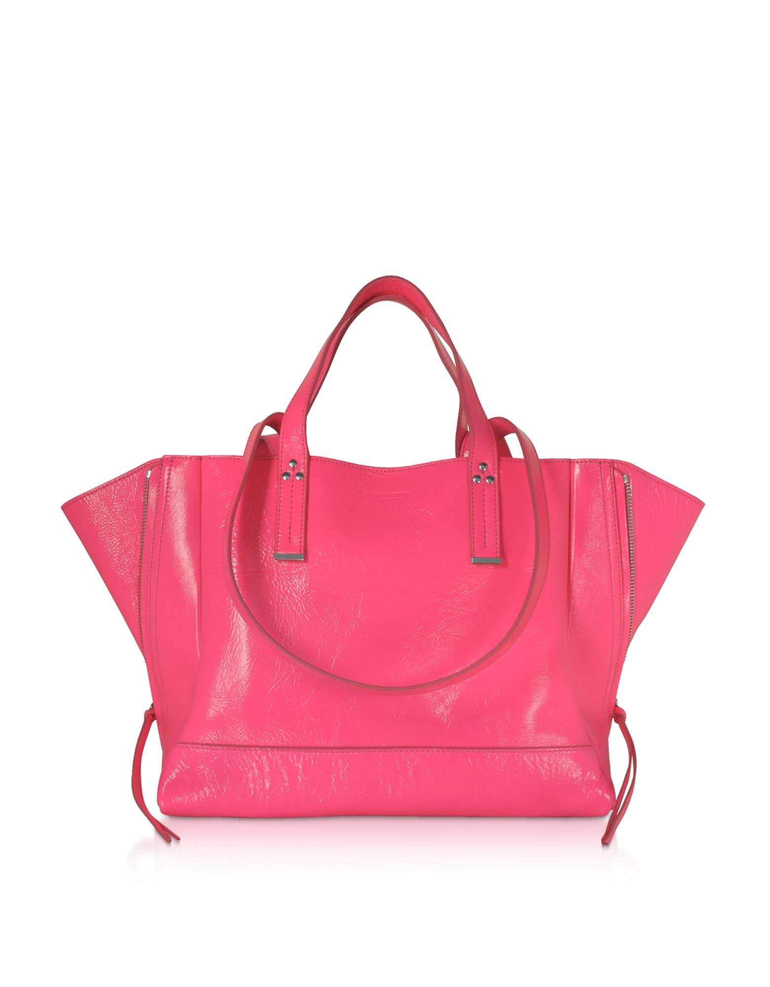 Georges M Croco Fuchsia Glossy Leather Tote Bag