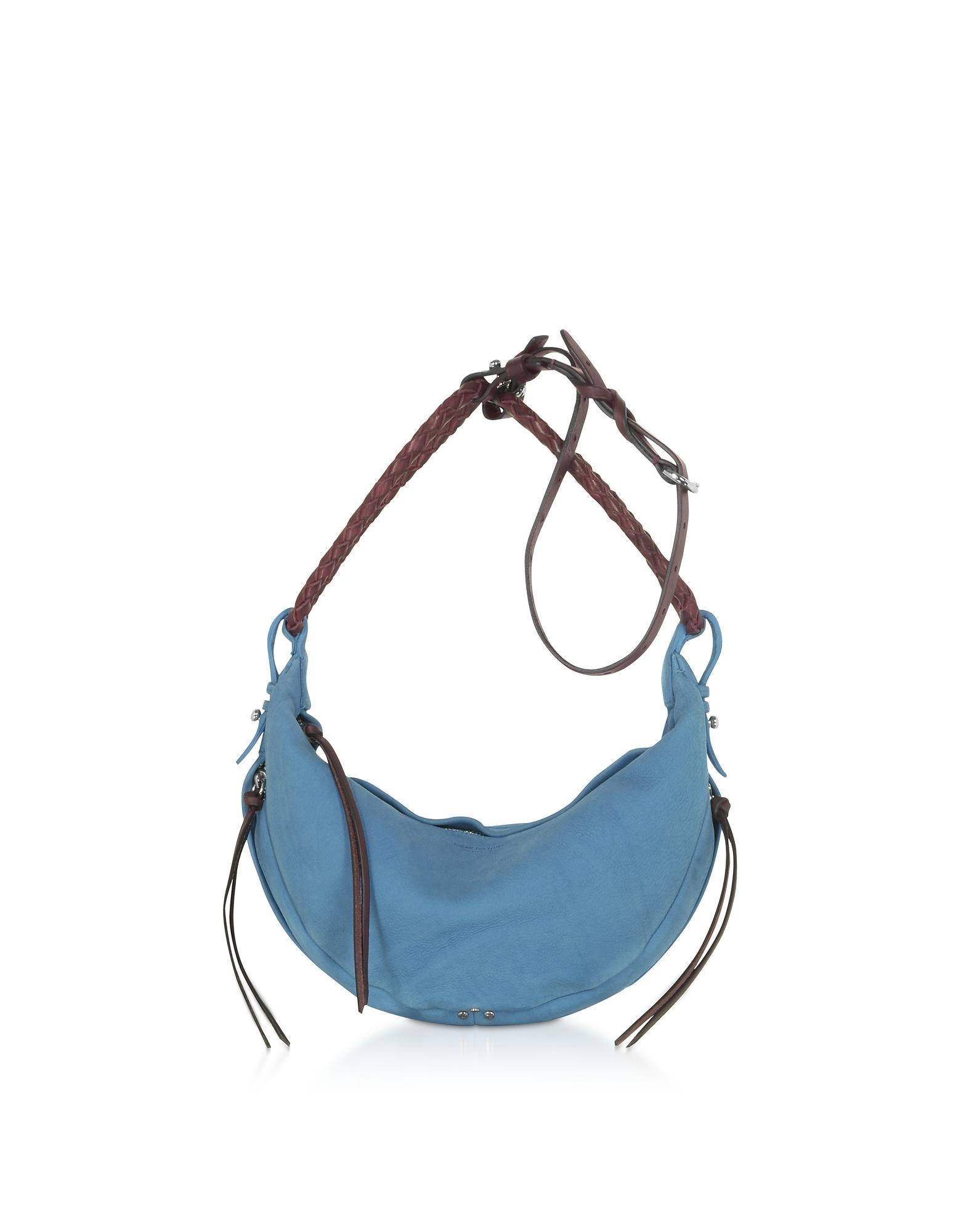 Jerome Dreyfuss Designer Handbags, Willy S Light Blue Leather Shoulder Bag