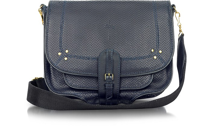 Fredo - Marine Blue Embossed Leather Shoulder Bag - Jerome Dreyfuss