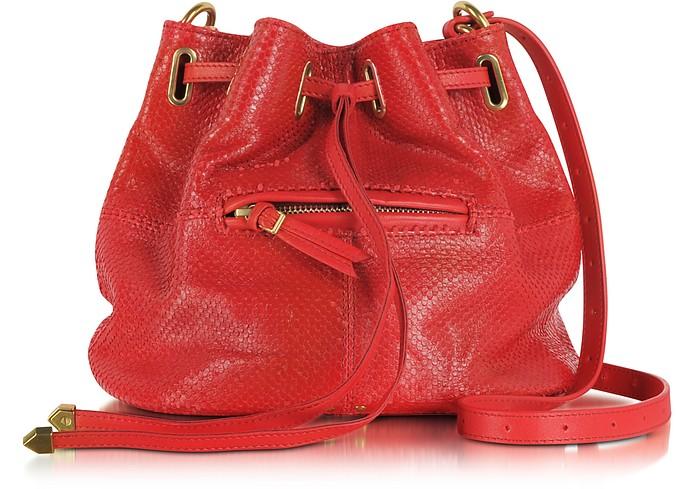 Alain S Rouge Viper Calfskin Leather Shoulder Bag - Jerome Dreyfuss