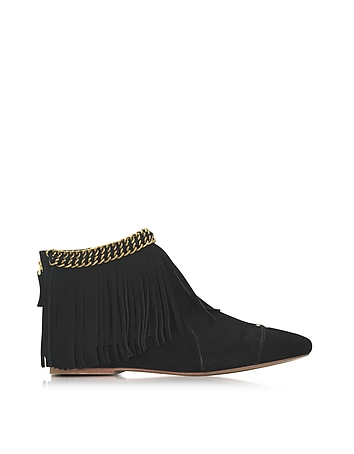 Francoise Black Suede Low Boot w/Fringe