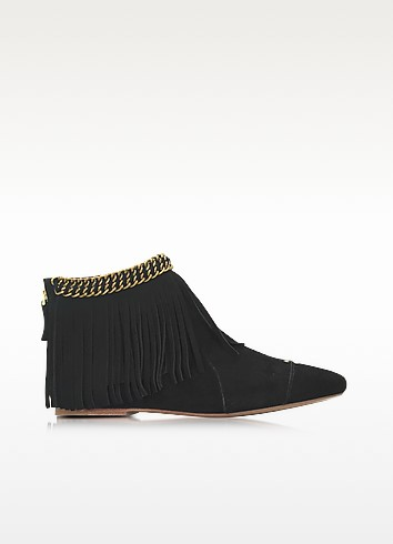 Francoise Black Suede Low Boot w/Fringe - Jerome Dreyfuss
