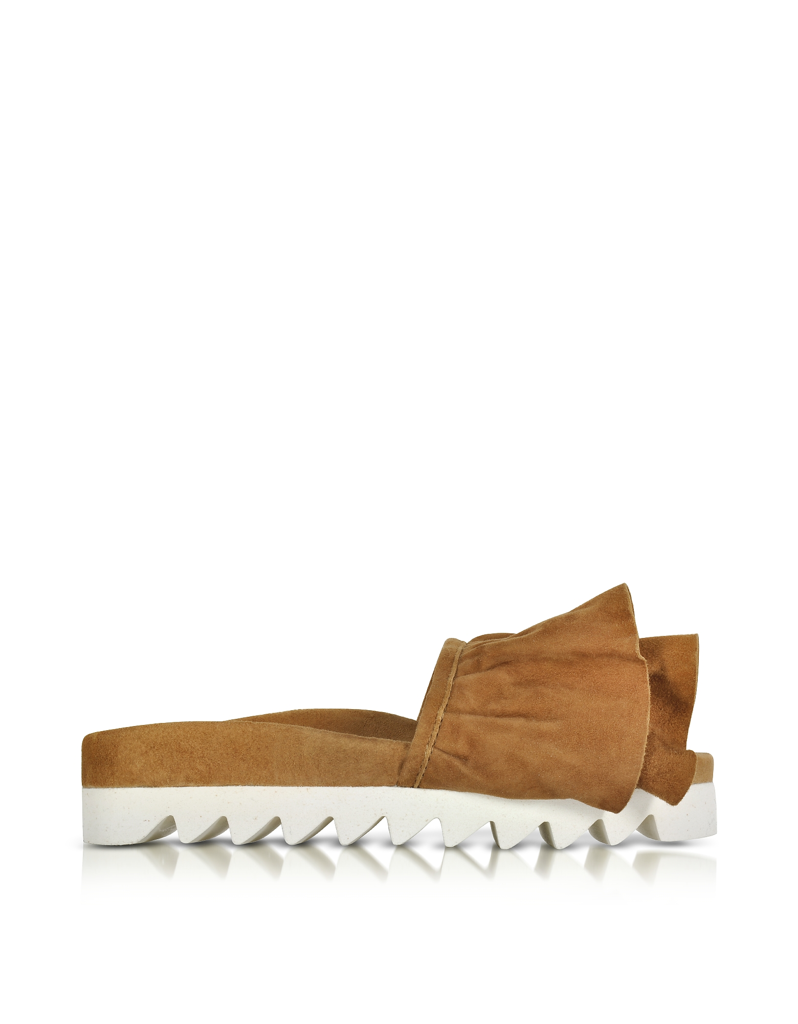 Joshua Sanders Shoes, Tabac Ruches Suede Slide