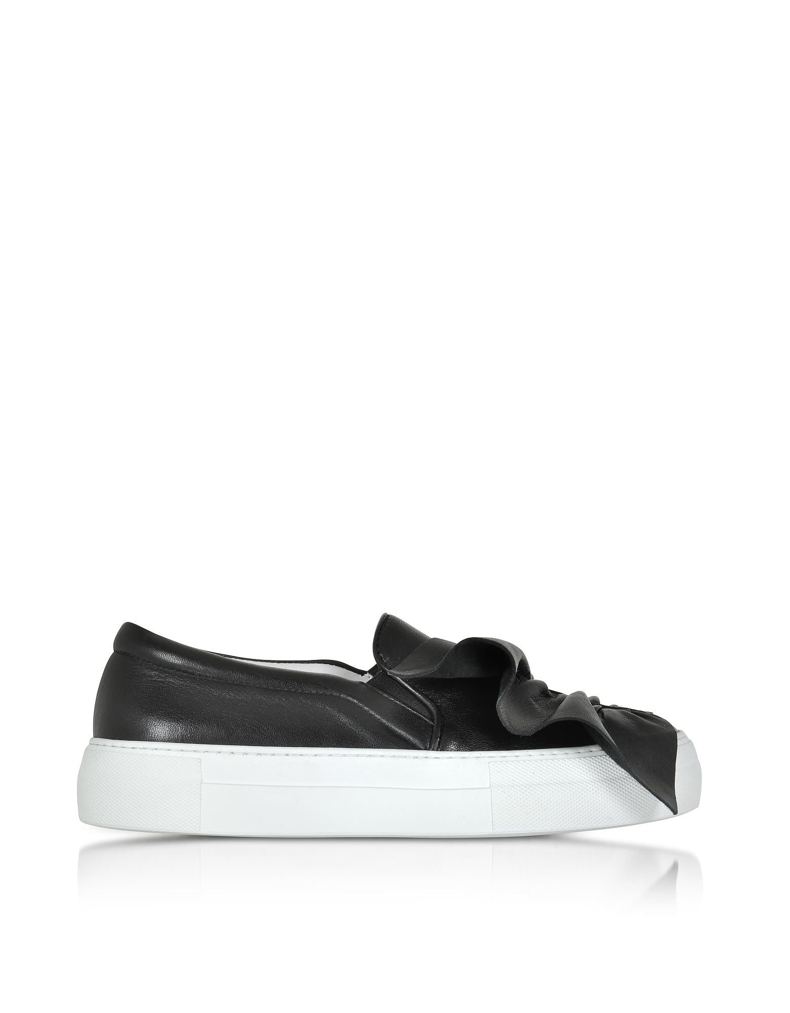 Sneaker da Donna Slip on in Pelle Nera con Rouches