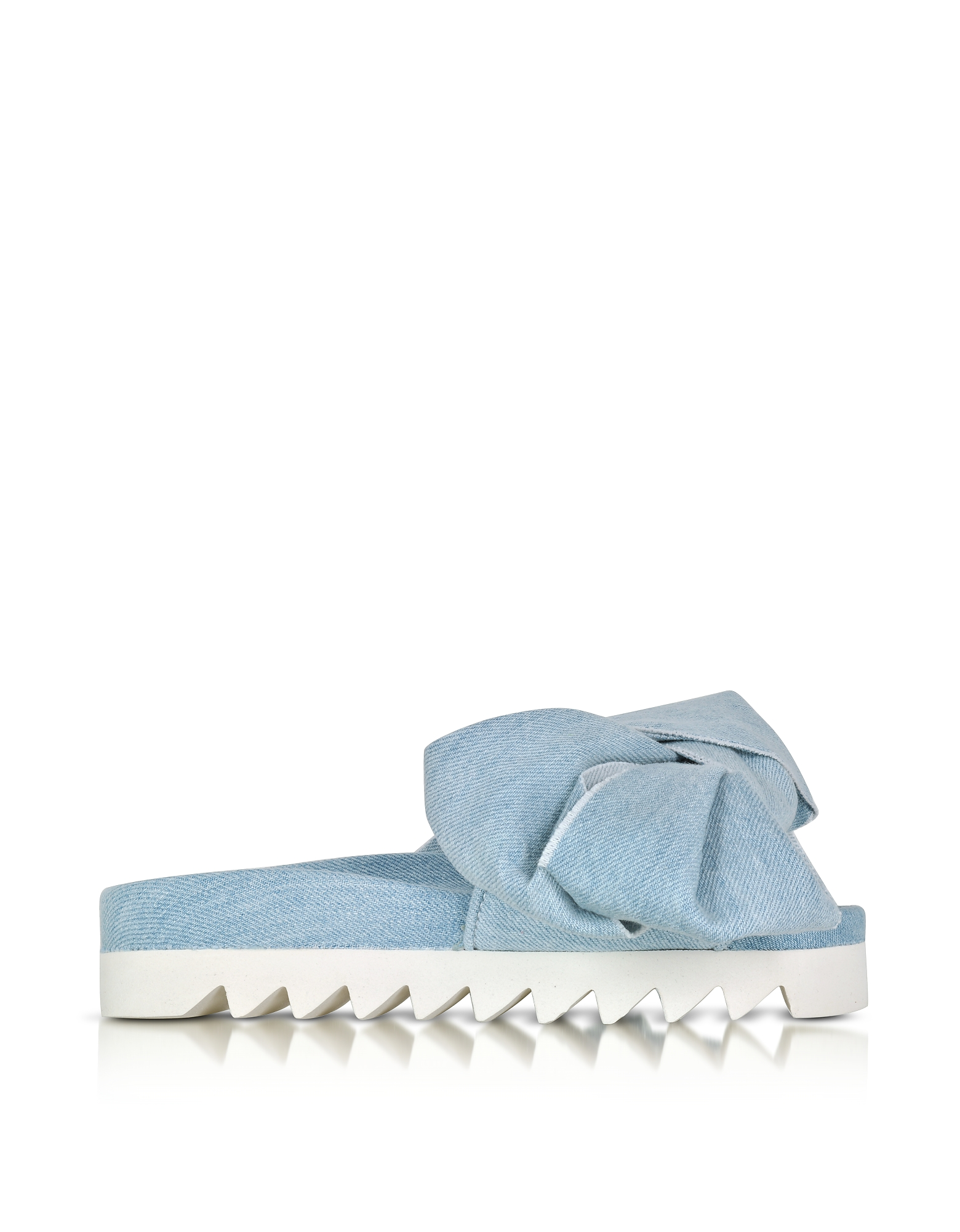 Joshua Sanders Shoes, Azure Denim Bow Slide