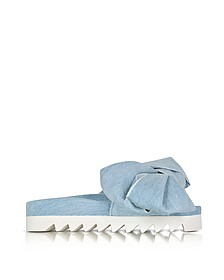 Azure Denim Bow Slide - Joshua Sanders