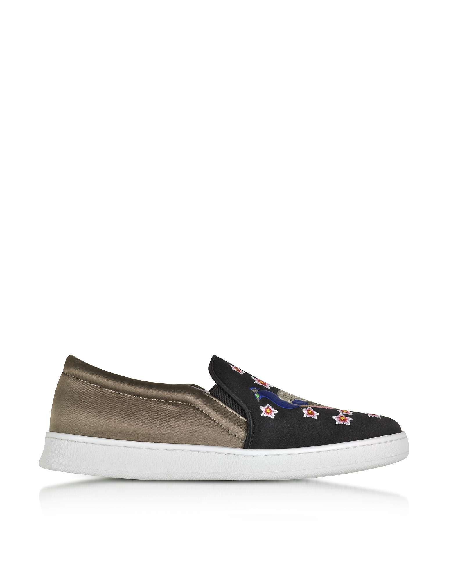 Joshua Sanders Shoes, Peacock Multicolor Fabric Slip-on Sneaker