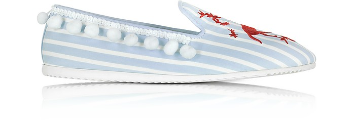 Lobster Embroidery Striped Fabric Slip on Loafer - Joshua Sanders