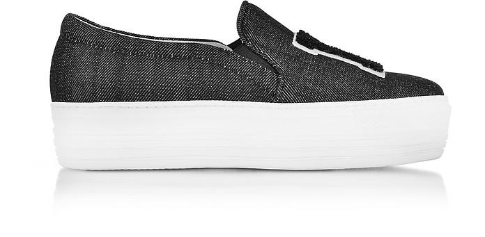 Black Denim LA Slip on Sneakers - Joshua Sanders