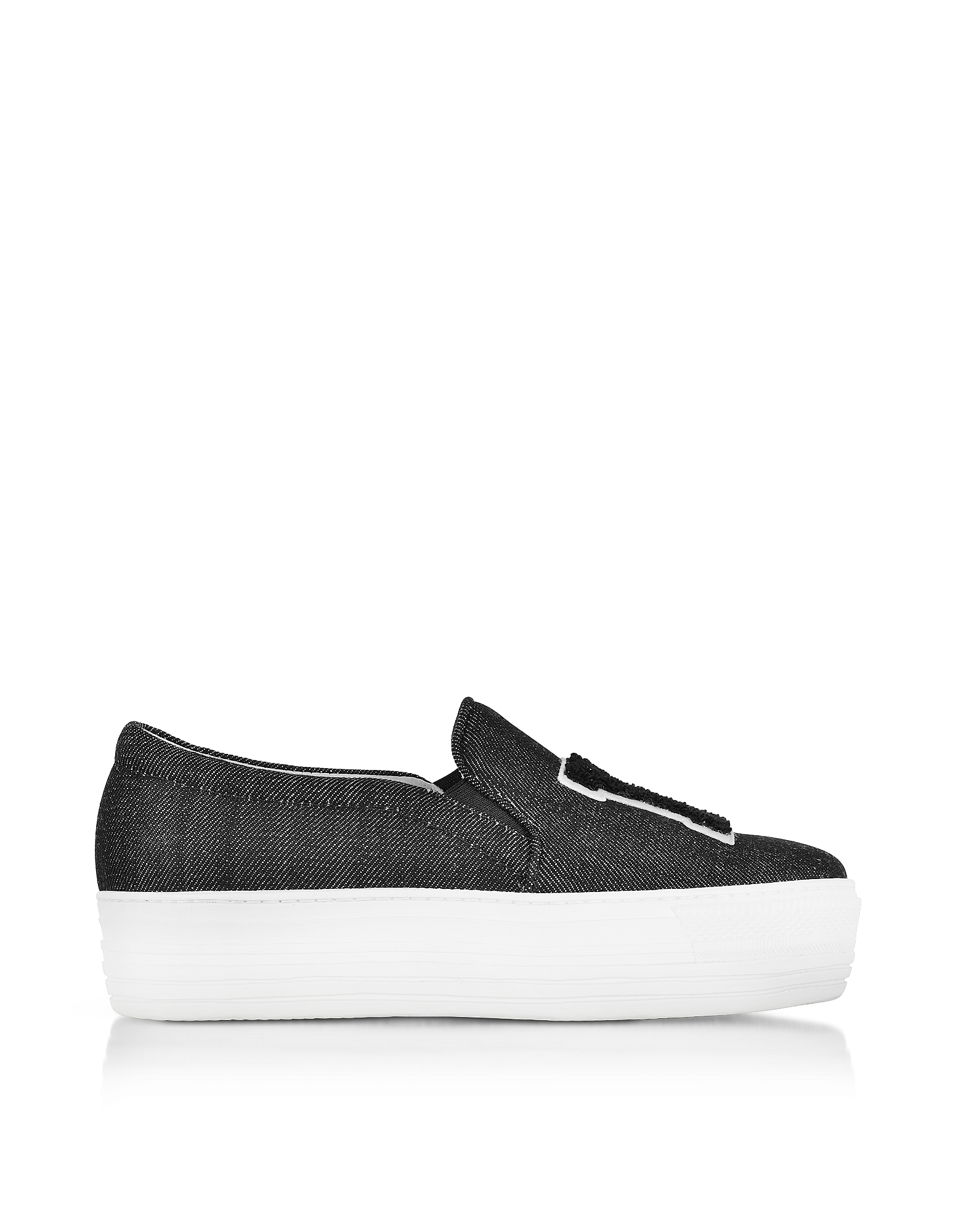 Joshua Sanders Shoes, Black Denim LA Slip on Sneakers