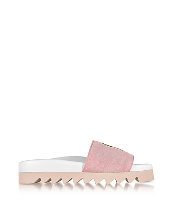 Joshua Sanders - Pink Fleece and Leather Smile Slide Sandals