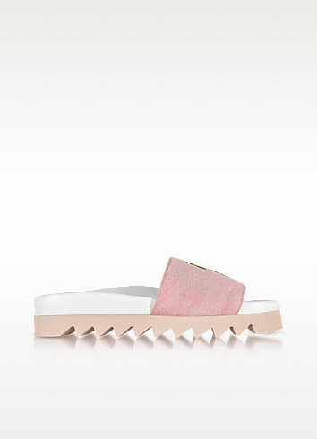 Pink Fleece and Leather Smile Slide Sandals - Joshua Sanders