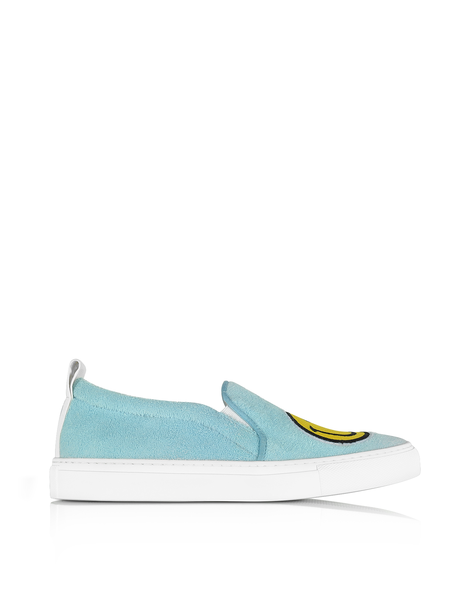 Joshua Sanders Shoes, Light Blue Fleece and Leather Smile Slip on Sneakers