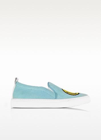 Light Blue Fleece and Leather Smile Slip on Sneakers - Joshua Sanders