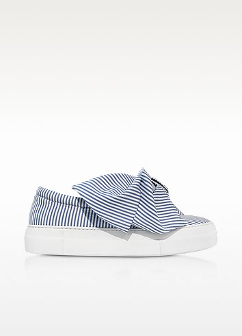 Skinny Stripes Bow Cotton Slip on Sneakers - Joshua Sanders