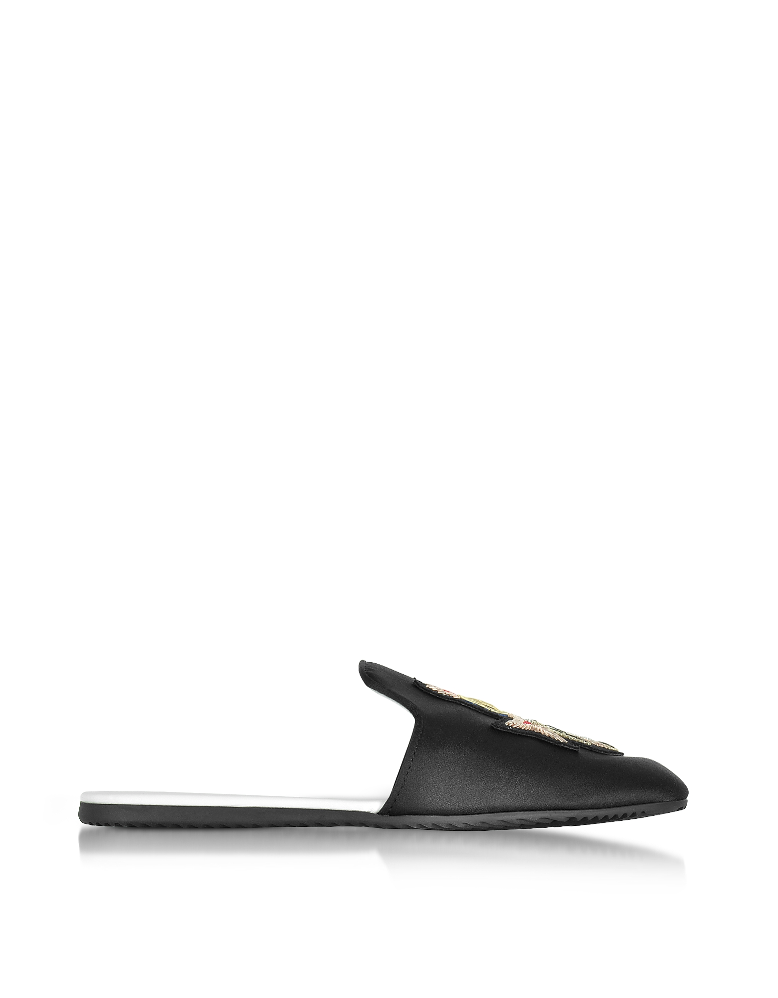 Joshua Sanders Shoes, Black Crest Satin Flat Mule